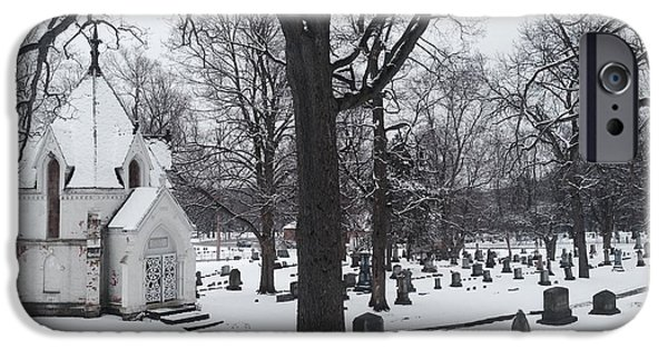 Headstones Digital Art iPhone Cases - Snowy Oak Hill iPhone Case by Jim Richardson