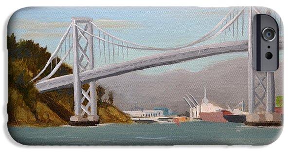 Bay Bridge iPhone Cases - Oakland Bridge iPhone Case by Santiago Perez