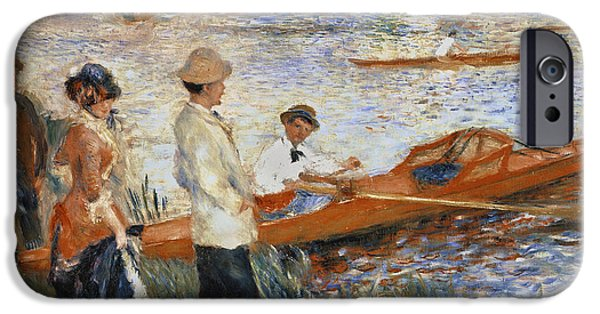 Boat Paintings iPhone Cases - Oarsmen at Chatou iPhone Case by Pierre Auguste Renoir