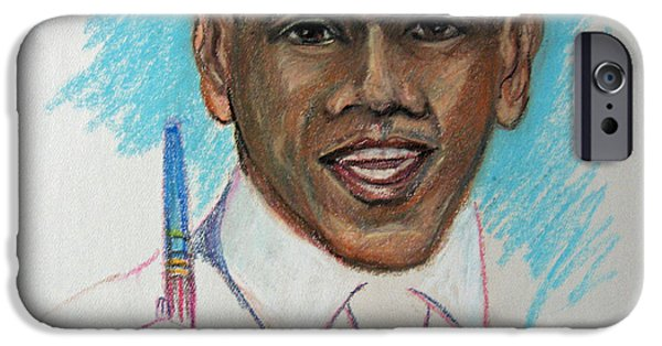 Obama iPhone Cases - Obama and his pen iPhone Case by John Cummings