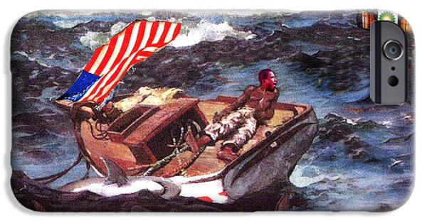 Obama iPhone Cases - Obama at Sea iPhone Case by Seth Weaver