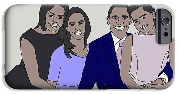 First Lady Drawings iPhone Cases - Obama Family Neutral Background iPhone Case by Priscilla Wolfe