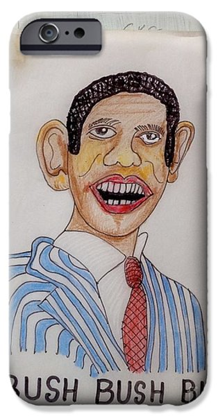Obama Drawings iPhone Cases - Obama iPhone Case by Robert Raymond