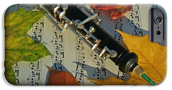 Sheets iPhone Cases - Oboe and Sheet Music on Autumn Afternoon iPhone Case by Anna Lisa Yoder