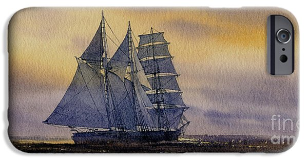 Sailing Ship Framed Prints iPhone Cases - Ocean Dawn iPhone Case by James Williamson