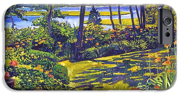 Terra Paintings iPhone Cases - Ocean Lagoon Garden iPhone Case by David Lloyd Glover