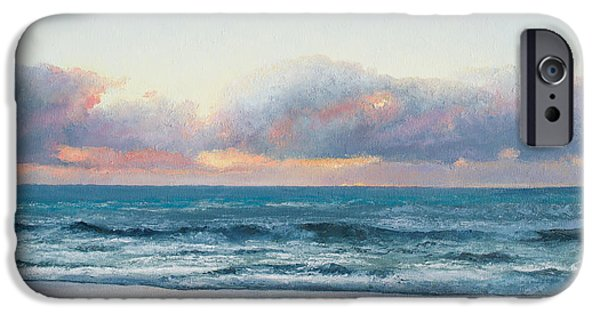 Beach iPhone Cases - Ocean painting - Days End iPhone Case by Jan Matson