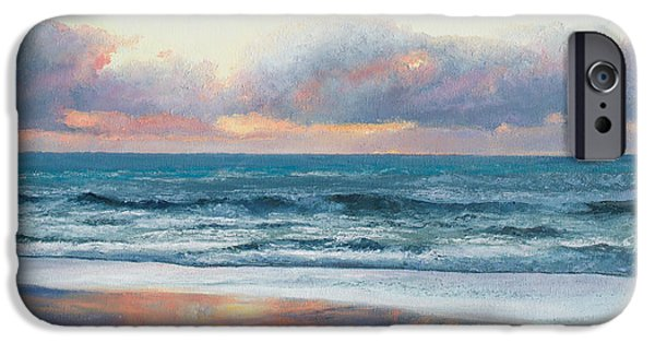 House Art iPhone Cases - Ocean painting - Days End iPhone Case by Jan Matson