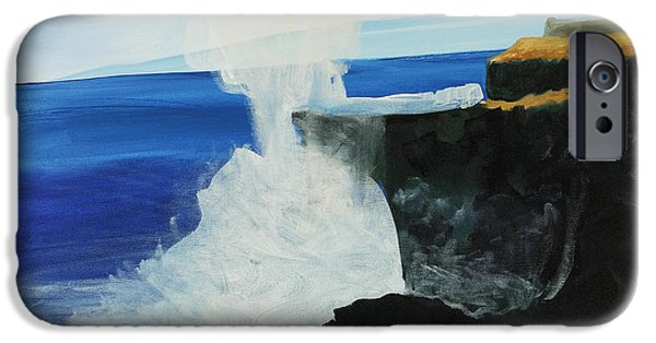 Art Medium iPhone Cases - Ocean Spray at Blowhole iPhone Case by Katie OBrien - Printscapes