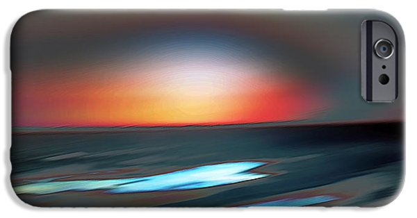 Abstract Digital Photographs iPhone Cases - Ocean Sunset iPhone Case by Lana Art
