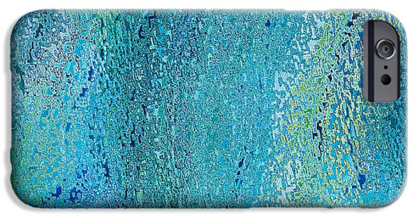 Abstract Digital Tapestries - Textiles iPhone Cases - Oceania Blue iPhone Case by FabricWorks Studio