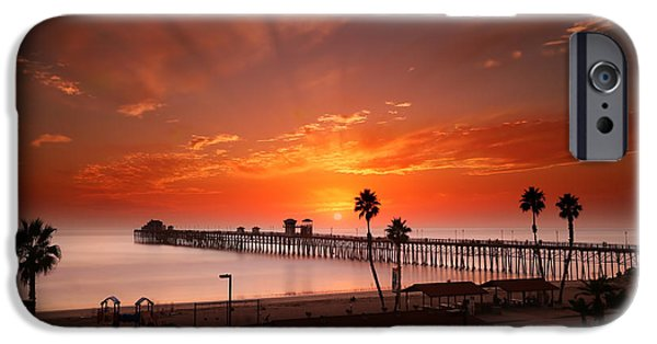Clouds iPhone Cases - Oceanside Sunset 9 iPhone Case by Larry Marshall