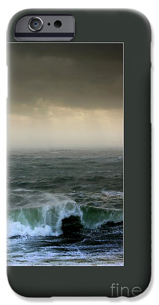 Turbulent Skies iPhone Cases - Ochre skies and green seas iPhone Case by Paul Davenport