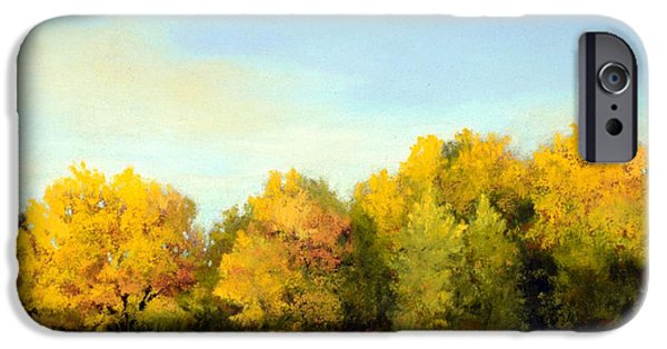 Autumn Scenes Pastels iPhone Cases - October Light iPhone Case by Xenia Sease