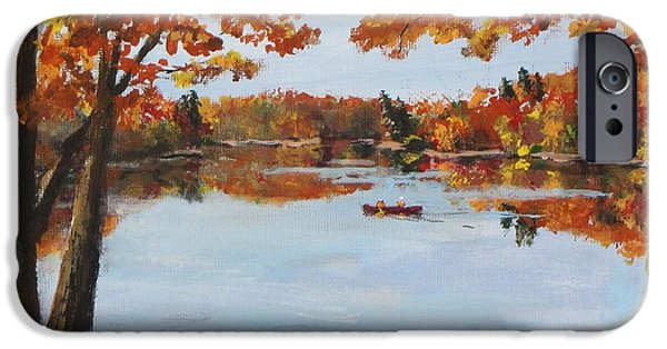 Jack Skinner Paintings iPhone Cases - October Morn at Walden Pond iPhone Case by Jack Skinner