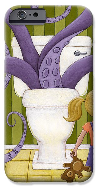 Bathroom Paintings iPhone Cases - Octotoillet iPhone Case by Christy Beckwith