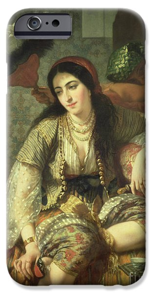 Middle East iPhone Cases - Odalisque iPhone Case by Jean Baptiste Ange Tissier