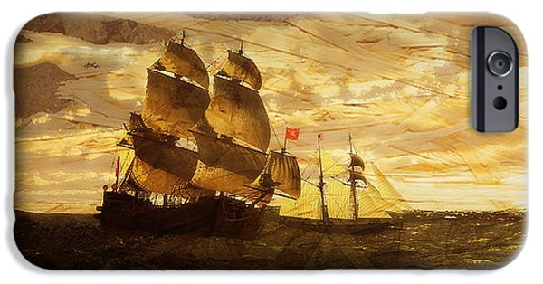 Pirate Ship iPhone Cases - Of the Vintage iPhone Case by Arthur Wise