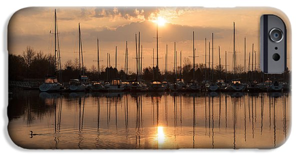 Boat iPhone Cases - Of Yachts and Cormorants - A Golden Marina Morning iPhone Case by Georgia Mizuleva