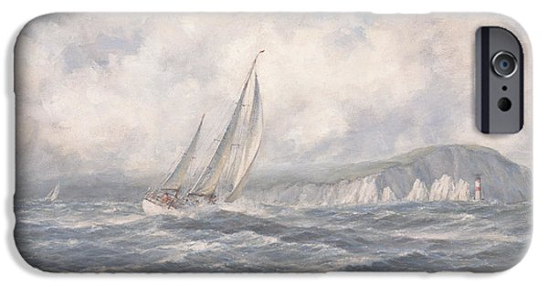 Sailing Ships iPhone Cases - Off the Needles  Isle of Wight iPhone Case by Richard Willis