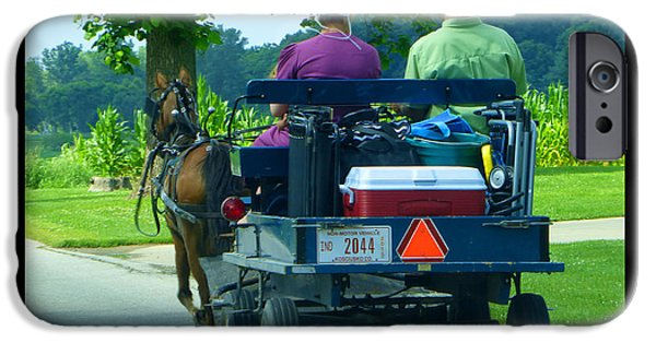 Amish Community Photographs iPhone Cases - Off To A Picnic iPhone Case by Tina M Wenger