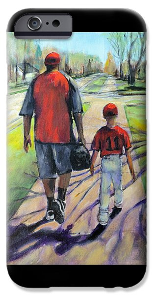 Softball Paintings iPhone Cases - Off to the Game iPhone Case by Jodie Marie Anne Richardson Traugott          aka jm-ART