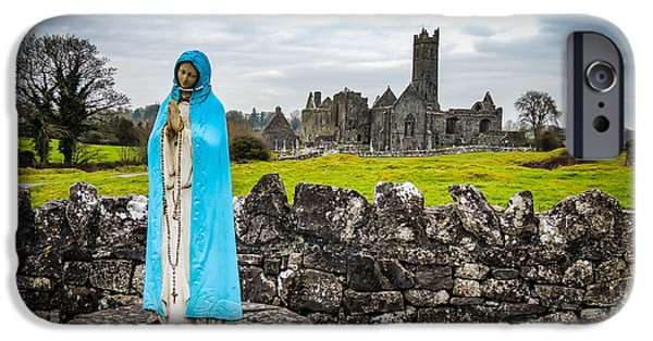 Recently Sold -  - Historic Site iPhone Cases - Official Greeter at Irelands Quin Abbey National Monument iPhone Case by James Truett