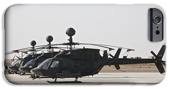 Iraq iPhone Cases - Oh-58d Kiowa Helicopters On The Flight iPhone Case by Terry Moore