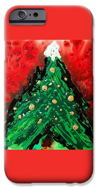 Tree Art Print iPhone Cases - Oh Christmas Tree iPhone Case by Sharon Cummings