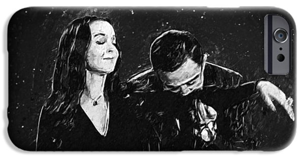 Character Portraits Digital iPhone Cases - Oh Tish I love it when you speak French - The Addams Family  iPhone Case by Taylan Soyturk
