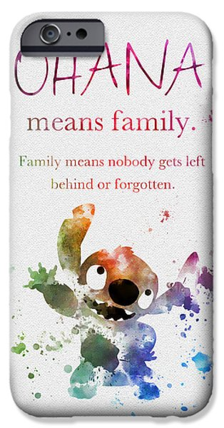 Animation iPhone Cases - Ohana means Family iPhone Case by Rebecca Jenkins