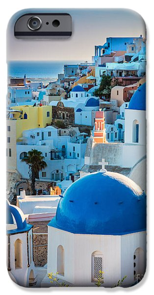 Europa iPhone Cases - Oia Town iPhone Case by Inge Johnsson