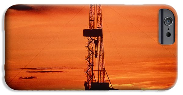 Energy Industry iPhone Cases - Oil Drilling Rig, Russia, At Sunset iPhone Case by Ria Novosti