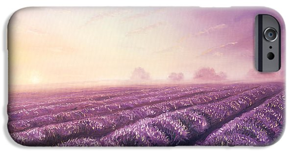 Garden Scene Paintings iPhone Cases - oil painting of lavender fields on canvas.Sunset landscape. Pink and purple morning light color  iPhone Case by Jozef Klopacka