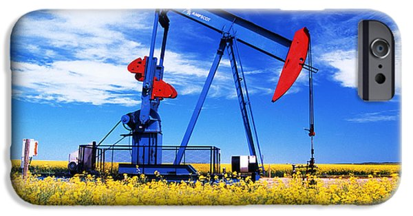 Canola Field iPhone Cases - Oil Pumpjack And Canola Field, Arcola iPhone Case by Dave Reede