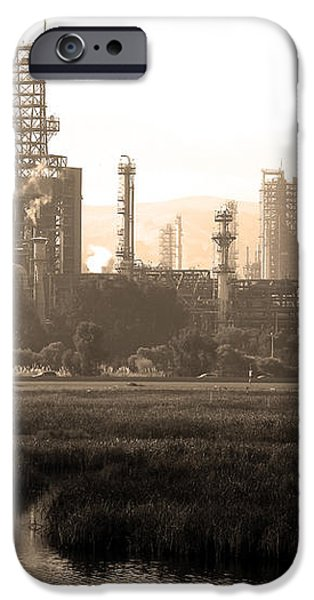 Oil Refinery Industrial Plant In Martinez California . 7D10364 . sepia iPhone Case by Wingsdomain Art and Photography
