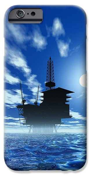 Sea Platform iPhone Cases - Oil Rig, Artwork iPhone Case by Victor Habbick Visions