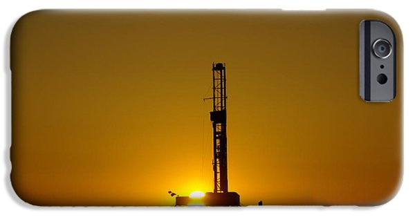 Morning iPhone Cases - Oil Rig Near Killdeer In The Morn iPhone Case by Jeff  Swan