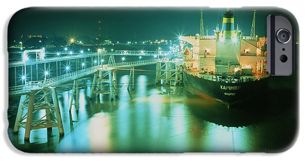 Energy Industry iPhone Cases - Oil Tanker In Port At Night. iPhone Case by David Parker