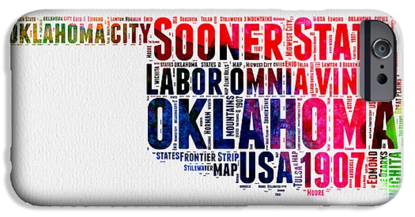 4th July Mixed Media iPhone Cases - Oklahoma Watercolor Word Cloud  iPhone Case by Naxart Studio