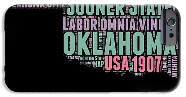 July Mixed Media iPhone Cases - Oklahoma Word Cloud 1 iPhone Case by Naxart Studio