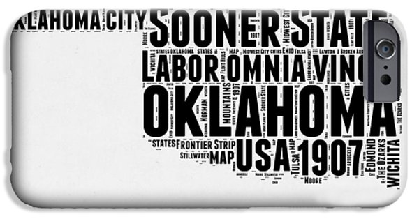 July Mixed Media iPhone Cases - Oklahoma Word Cloud 2 iPhone Case by Naxart Studio