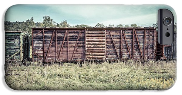 Old Cars iPhone Cases - Old Abandoned Box Cars Central Vermont iPhone Case by Edward Fielding