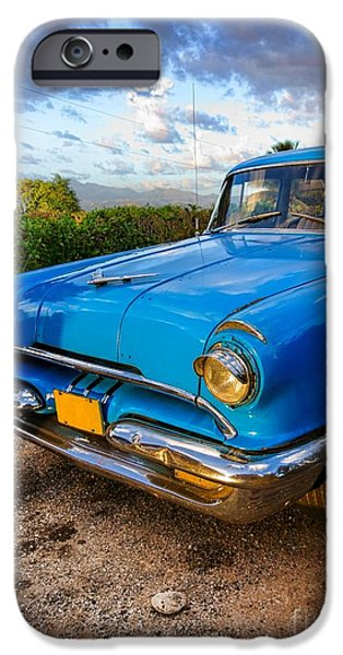 Old Cars iPhone Cases - Old American classic car in Trinidad, Cuba iPhone Case by Mikko Palonkorpi