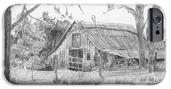 Old Barn Drawing iPhone Cases - Old Barn 2 iPhone Case by Barry Jones
