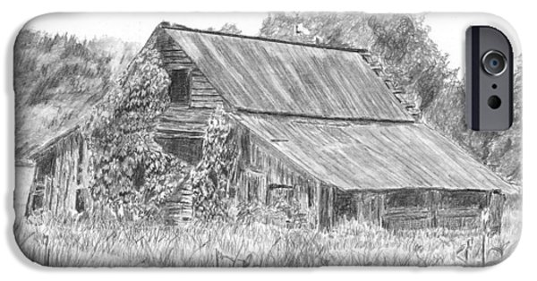 Old Barn Drawing iPhone Cases - Old Barn 4 iPhone Case by Barry Jones