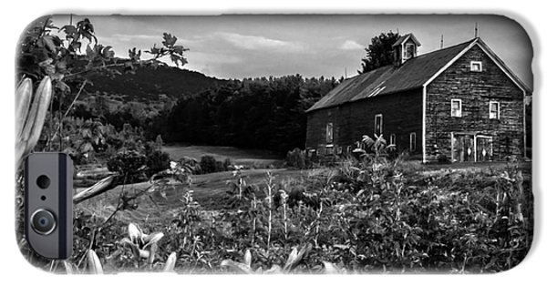 Old Barn iPhone Cases - Old Barn and Daylilies in Vermont - BW iPhone Case by James Aiken