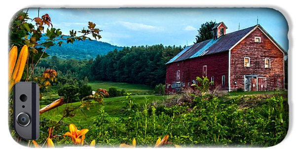 Old Barn iPhone Cases - Old Barn and Daylilies in Vermont iPhone Case by James Aiken