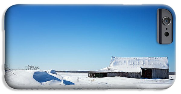 Abandoned Buildings iPhone Cases - Old barn and snow drifts Canada iPhone Case by Jane Rix