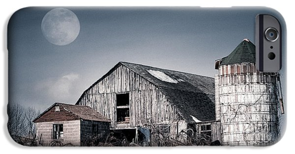 Snowy Night iPhone Cases - Old Barn and winter moon - Snowy Rustic Landscape iPhone Case by Gary Heller